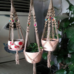 lc geflochtenes seil makramee blumenampel blumentopf halter pflanze aufh nger f ebay. Black Bedroom Furniture Sets. Home Design Ideas