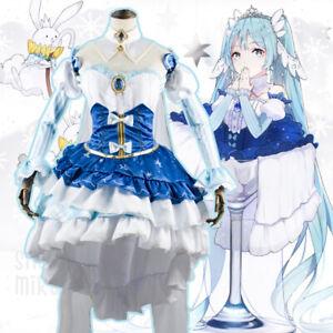 Details about 2019 VOCALOID Snow Miku Hatsune Cosplay Costume Anime  Princess Fancy Dress Suit