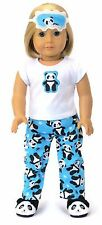 "Panda Bear Pajamas &  Eye Mask made for 18"" American Girl Doll Clothes"