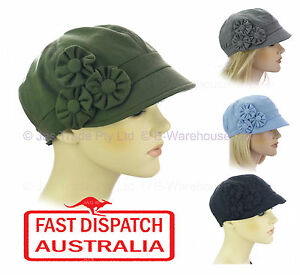 fc2890ab4 Details about Ladies Bakerboy Chemo Hair Loss Headcover JERSEY COTTON  Flower Visor Hat Cap