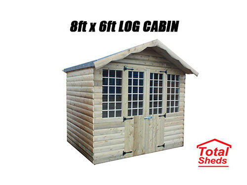14X8 ULTIMATE LOG CABIN SUMMER HOUSE WOODEN SHED TOP QUALITY GRADED TIMBER