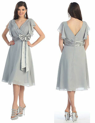 SILVER Mother Of Bride/Groom DRESS HOMECOMING EVENING FORMAL CHIFFON 3XL Fit 16