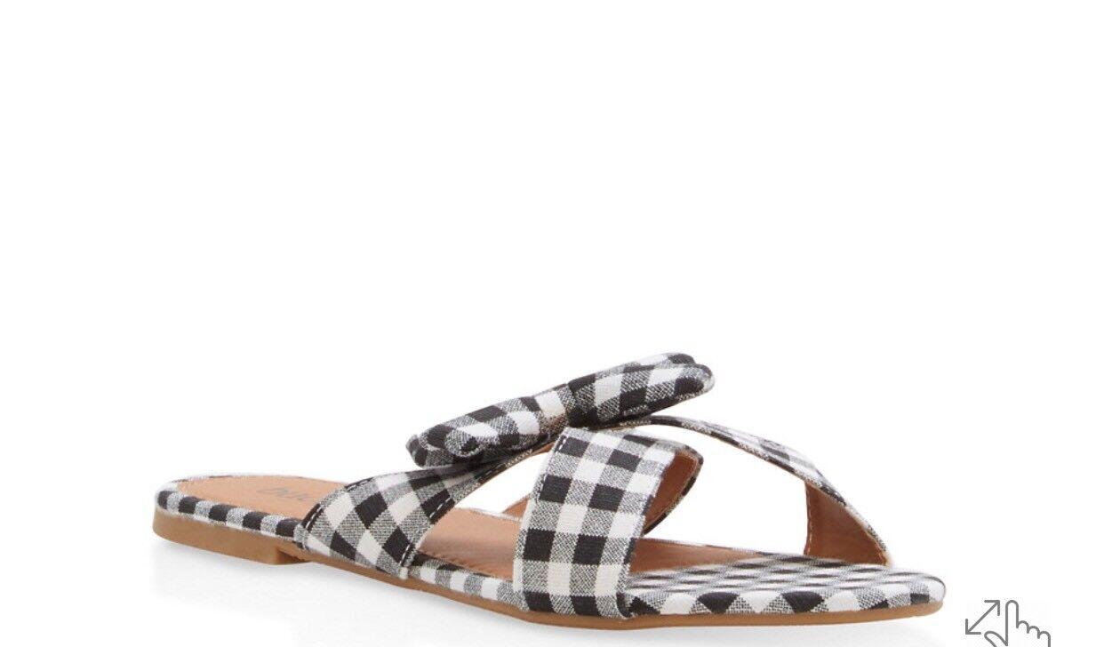 Bucco Capensis Gingham Print Color: Bow Slide Sandals: Size 9, Color: Print Black 9c3182