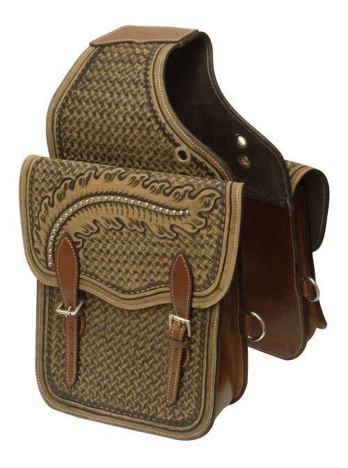 Showman Basket Weave Tooled Leather Saddle Bag with Studded Oak Leaf Design