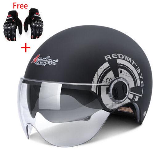 Motorcycle Half Helmet Dual Sun Visor Motorbike Harley Scooter Safe With Gloves