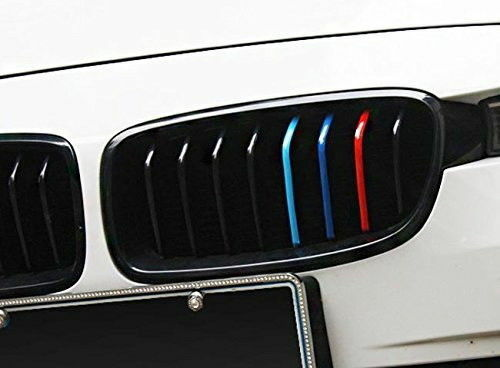 "10/"" M-Colored Kidney Grill Stripe Decal Sticker Decoration For BMW M3 M5 M6 E46"
