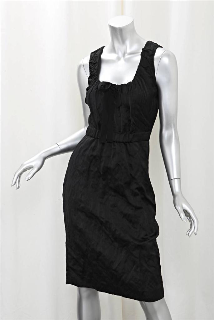 Prada  Mujer Raso Negro Plisado sin Mangas Escote rojoondo Vestido Recto 42 6  100% autentico