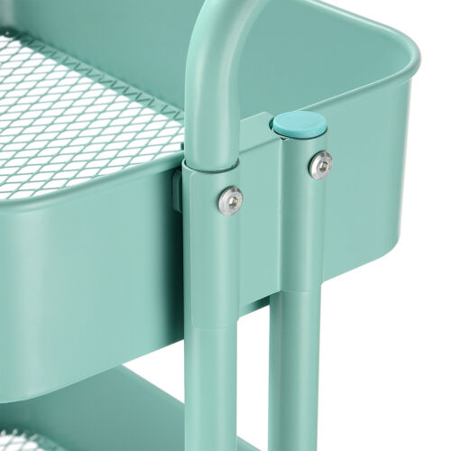 3-Tier Metal Rolling Utility Cart-Heavy Duty Mobile Storage Organizer for Home