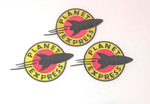 "SCREEN ACCURATE 3 Futurama Cartoon PLANET EXPRESS Logo 4 1//2/"" Embr. PATCHES"