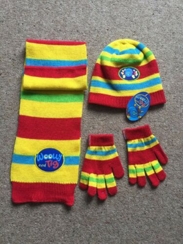 KIDS  CBEEBIES WOOLEY AND TIG HAT,SCARF,GLOVES SET AGE 2-4YEARS