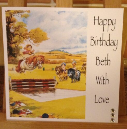 Handmade Personalised Horse Equestrian Thelwell Birthday Card