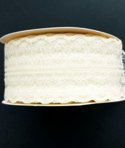 Vintage Ribete De Encaje Blanco Marfil Crema Boda Cinta 1m X 45mm De Ancho Artesanía Coser