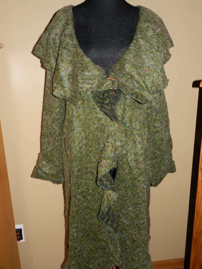 Women's Ian Mosh Long Khaki Green DUSTER Coat NWT New Size US 14