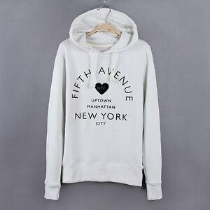 ed8cbdcff1f NEW Women's Girl's White Hoodies Hooded Pullover Soft Cotton ...