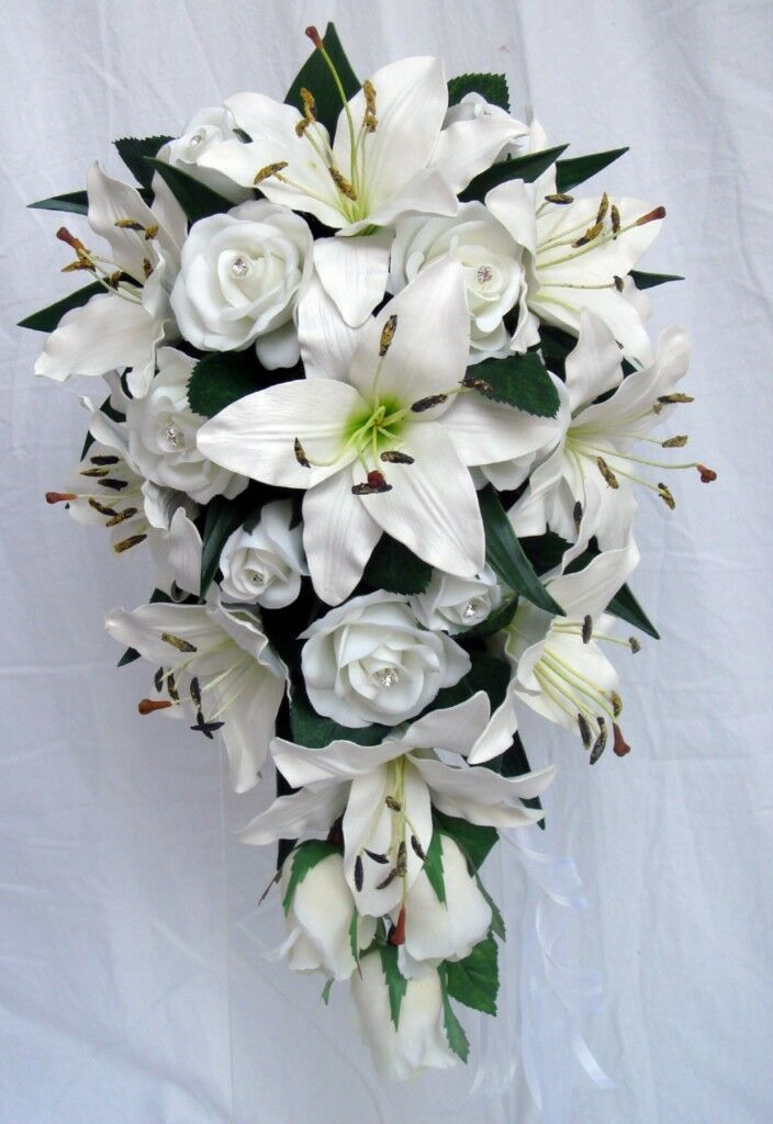 Bouquet de mariage, blanc Lily & roses strass real touch