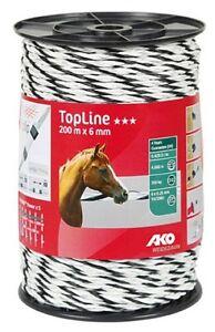 schwarz  Kordel Seil Weidezaun 449593 Weidezaunseil Topline Plus 6 mm weiß