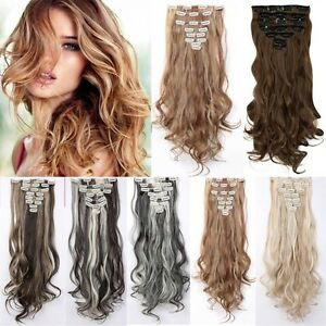 100-Real-Full-Head-8-piece-Clip-in-on-Hair-Extensions-18-clips-thick-as-remy-LK