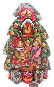 Wood-Figure-Carving-Christmas-TREE-Children-NEW-YEAR-Snowman-Cat-signed-SUVOROV