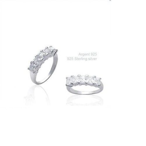 Alliance T50 Sertie Demi-Rail de Diamant Cz 5 mm Argent Massif 925 Dolly-Bijoux