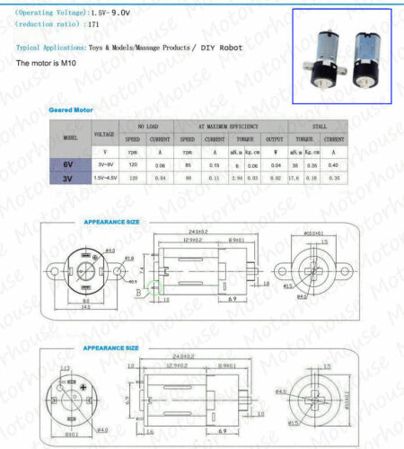 DC3V 5V 6V 120RPM Micro Mini Planetary Gear Reducer Coreless Motor DIY Car Robot