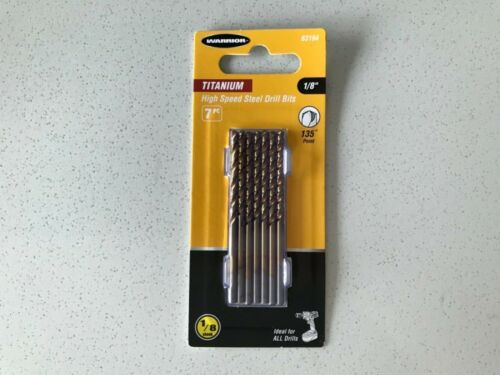 """Titanium Coated High Speed Steel Drill Bits 7 pcs 1//8"""" brand new in packaging"""