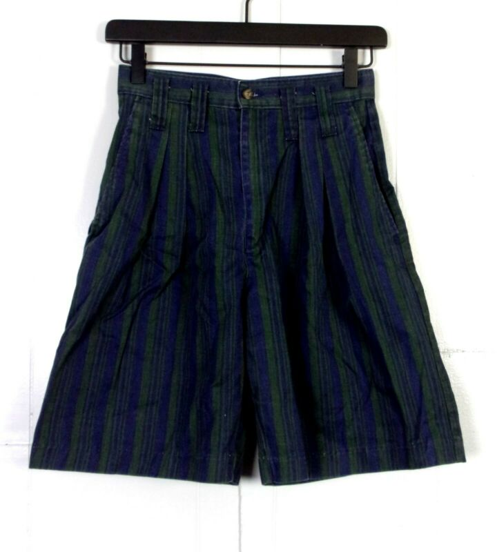 Vtg 80er Jahre 90er Jahre Memphis Dukles Marineblau Grün Gestreift Plissiert