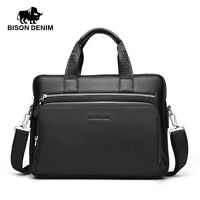 Bison Denim Genuine Leather Briefcase Mens Business Bag Laptop Carrying Bag