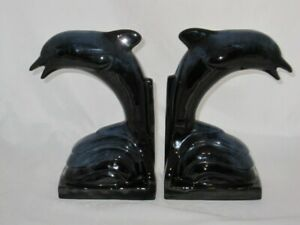 Blue-Mountain-Pottery-2-Pair-Dolphin-Bookends-Cobalt-Blue-8-3-4-034