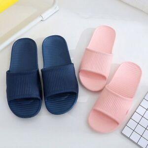 4b6797ff Men Women Slippers Couple Shower Slides Solid Stripe Home Shoes Non ...