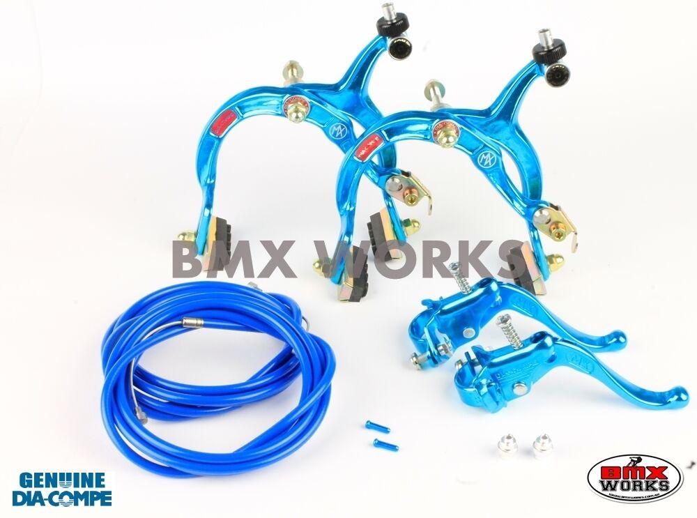 Dia-Compe MX1000 - MX123 - Tech-4 Bright bluee Brake Set - Old Vintage School BMX
