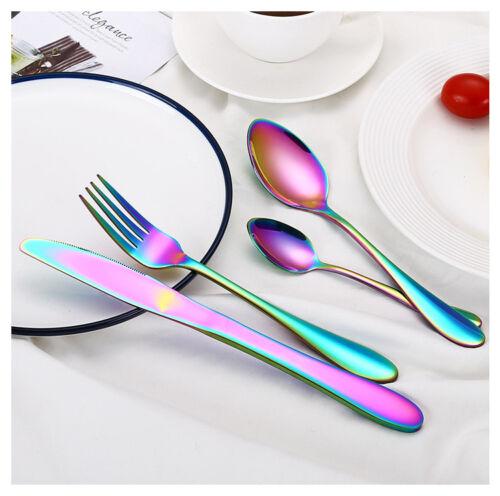 32PCS Acier inoxydable Couverts Set Rainbow irisé Couverts Fourchette Cuillère salle à manger