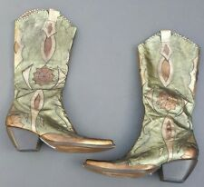 BCBG Girls Metallic Embellished LEATHER Cowboy Western Boots size 7 B BCBGirls