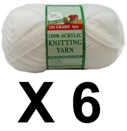 Knitting wool 6 x 100g acrylic yarn 8ply Pure White 100/% Brand New