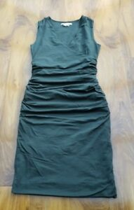 Boden-Crossover-Ruched-Cotton-Dress-green-WW067-UK-12P-RRP-69-50-BRAND-NEW