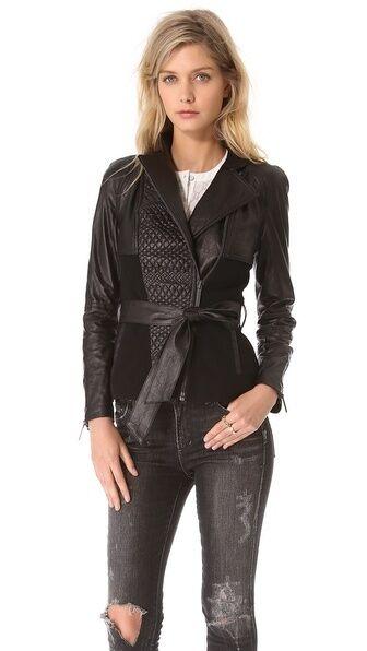 Nuevo con  etiquetas Catherine Malandrino Alfrojoa Acolchada Chaqueta Blazer de Abrigo de cuero Ponte Talla 8  tienda de ventas outlet