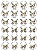 X24 FURRY FELINE BUTTERFLY WEDDING BIRTHDAY CUP CAKE TOPPERS ON RICE PAPER