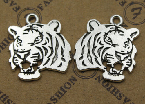 50//200pcs Retro style Tiger head Charm Pendant DIY Jewellery crafts 25x22mm