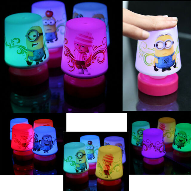 Cute Movie Minions Colorful 7 Color Changing Pat Table Lamp Night Light Kids Toy