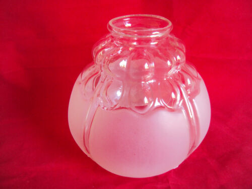 VINTAGE CLEAR FROSTED GLASS TABLE SWAG HANGING LAMP SHADE