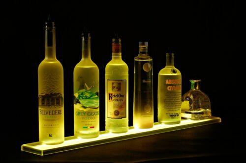 LED Lit Acrylic Bottle Display 2ft 11in Wall Mounted Shelf