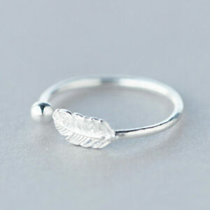Women-925-Sterling-Silver-Feather-Ring-Friendship-Wedding-Party-Ladies-Jewelry