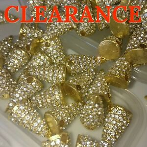 Image is loading Wholesale-50x-Shamballa-Crystal-Pave-Metal-Spike-Beads- 72f5838f9d65