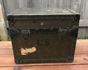 Vintage-WW2-U-S-Army-Military-Trunk-1940-Neevel-Field-Desk-Mess-Trunk-WWII
