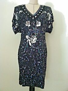 a78fa5d0c7 Vintage 80 s Stenay womens dress bead sequin evening cocktail party ...