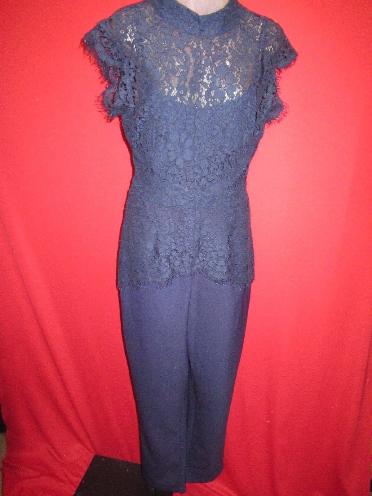 ELEVENSES Anthropologie Navy Crochet Lace Top Jumpsuit Pantsuit Sz 10NWT  158