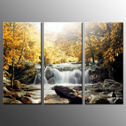 Nature Fall Forest Waterfall 3 Piece Canvas Wall Art Picture Painting Home Decor