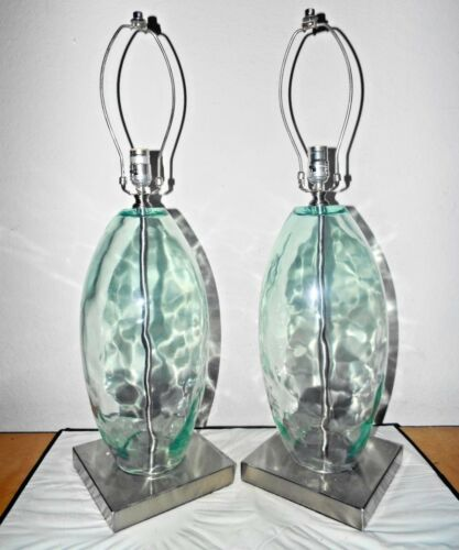 """LAMPS A PAIR  31/""""H HOTEL STYLE FANCY THICK GREEN GLASS /& CHROME BASE TABLE LAMPS"""