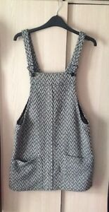 dee23241319c Image is loading Mango-Black-amp-White-Pinafore-Dress-Size-Small