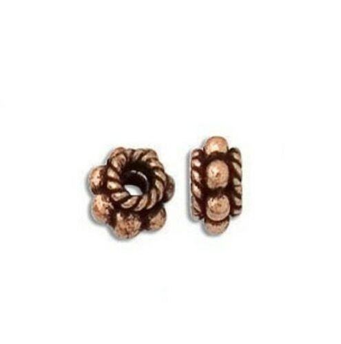 SOLID COPPER  BBCP37A COPPER  7MM BALI STYLE OXIDIZED SPACER 20 PCS
