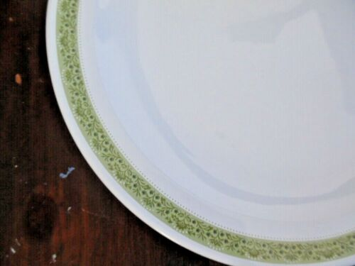 """2 Corning Centura White Green Border Lynwood Dinner Plate 10 1//2/"""""""